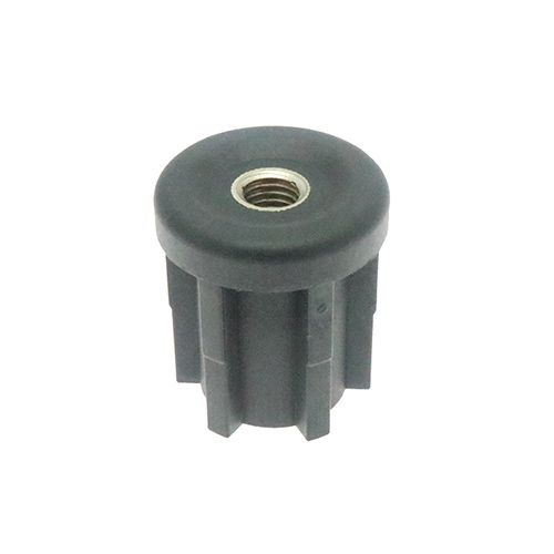 Black Round  Post Pipe End Caps Inserts Plugs with M8 M10 Metal Thread