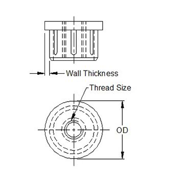 Round metal threaded inserts in aluminium M10 line drawing