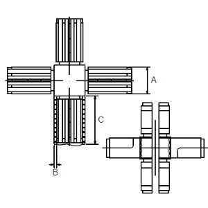 Square 6 Arm Connectors line drawing