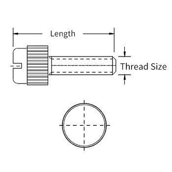 Nylon Slotted Head Thumbscrew Line Drawing